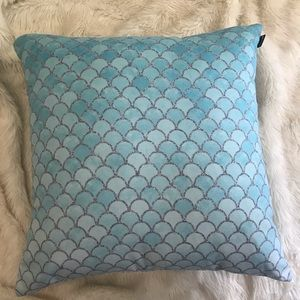 Society6 Blue Silver Glitter Mermaid Scales Pillow